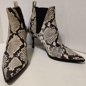 ZARA Snakeskin Print Leather High Heel Ankle Boots